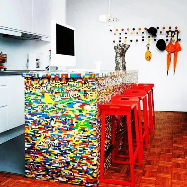 Check out this unusual Lego inspired kitchen design. Love it!
