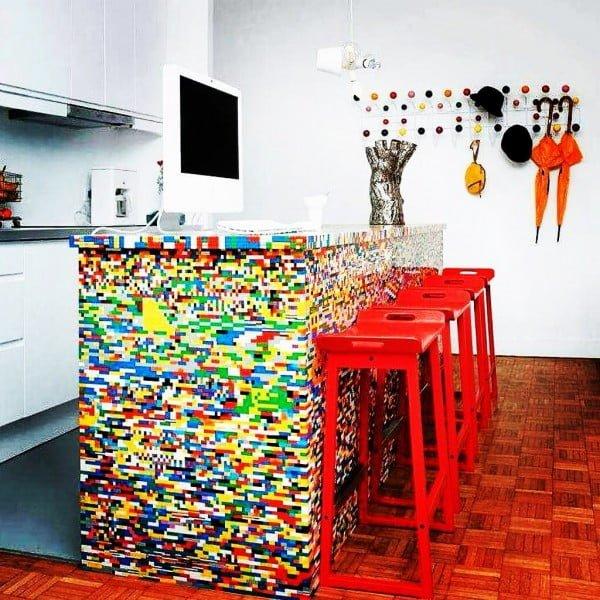 Check out this unusual Lego inspired kitchen design. Love it! #KitchenDecor #KitchenDesign #HomeDecorIdeas