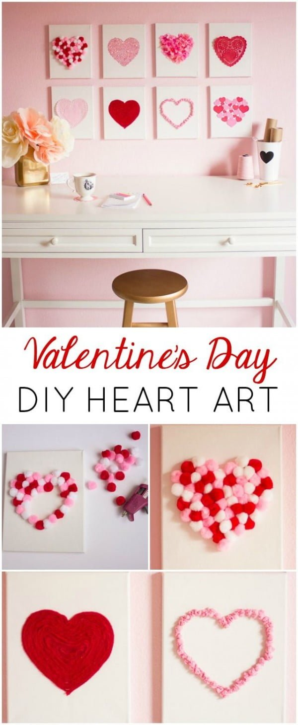 Check out this easy idea on how to make a #DIY heart wall art for #ValentinesDayDecor #ValentinesDayCrafts #ValentinesIdeas