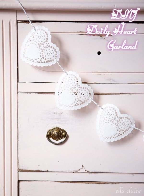 Check out this easy idea on how to make a  heart doily garland for