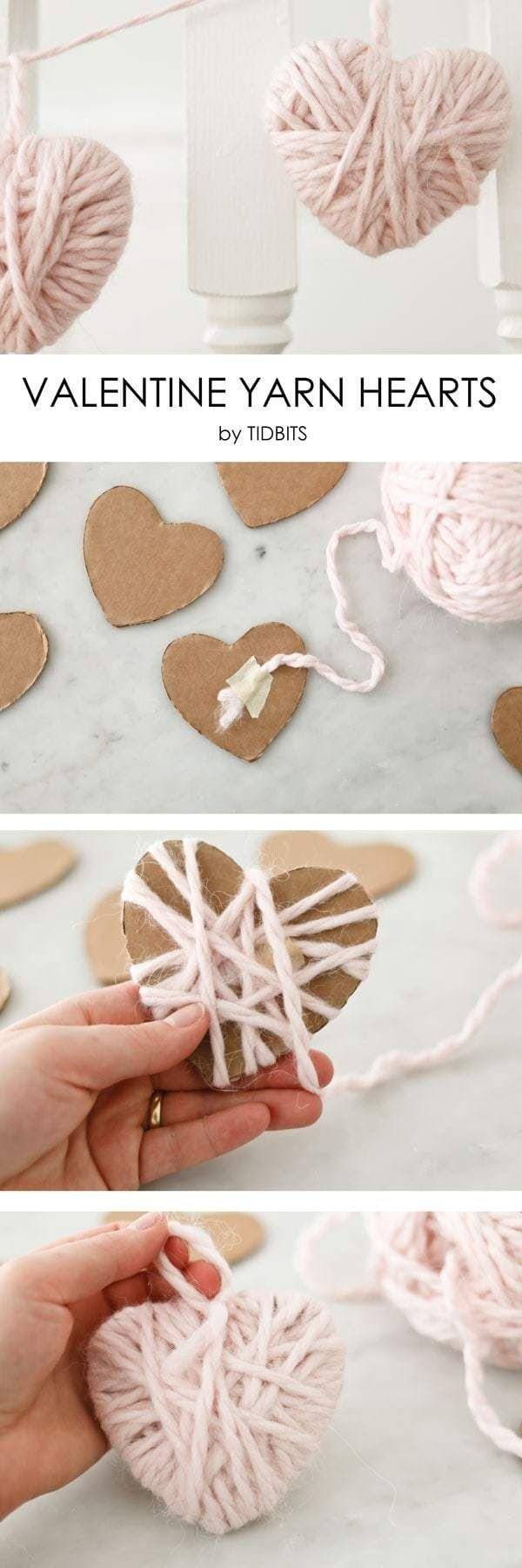 Check out this easy idea on how to make  yarn hearts for