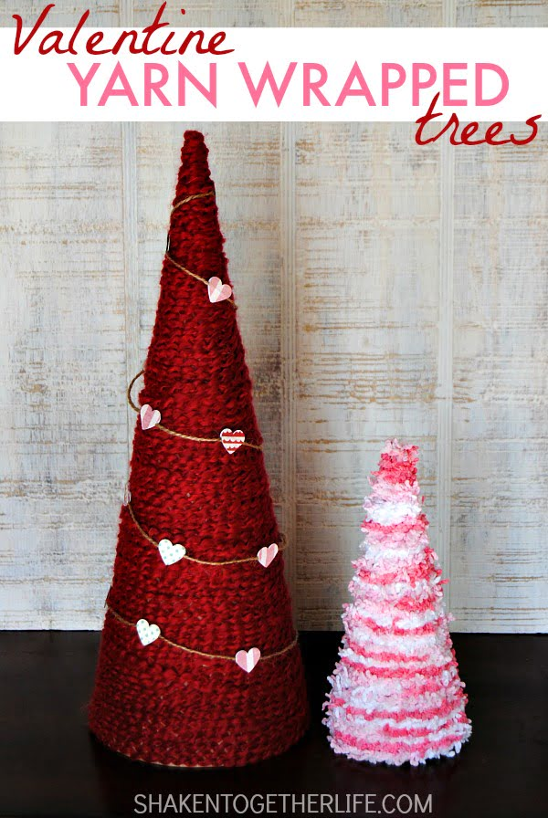 Check out this easy idea on how to make #DIY yarn wrapped trees for #ValentinesDayDecor #ValentinesDayCrafts #ValentinesIdeas