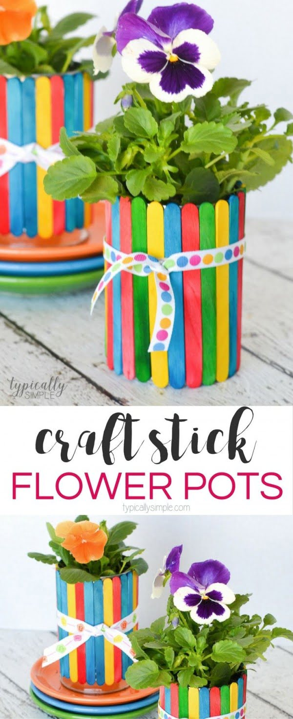 Check out this easy idea on how to make a #DIY craft stick flower pot #HomeDecorIdeas