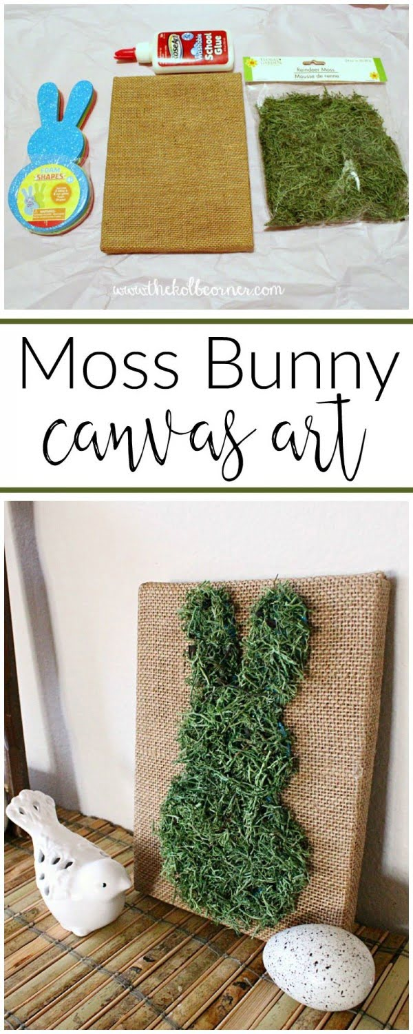 You have to see this tutorial on how to make #DIY moss bunny canvas art for spring decor #HomeDecorIdeas