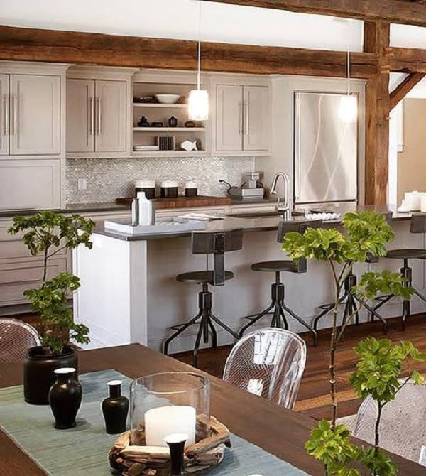 California chic decor idea with wood ceiling beams. Love it!