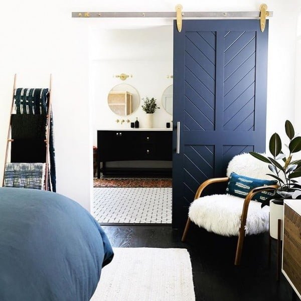 California chic decor idea with a sliding door. Love it!