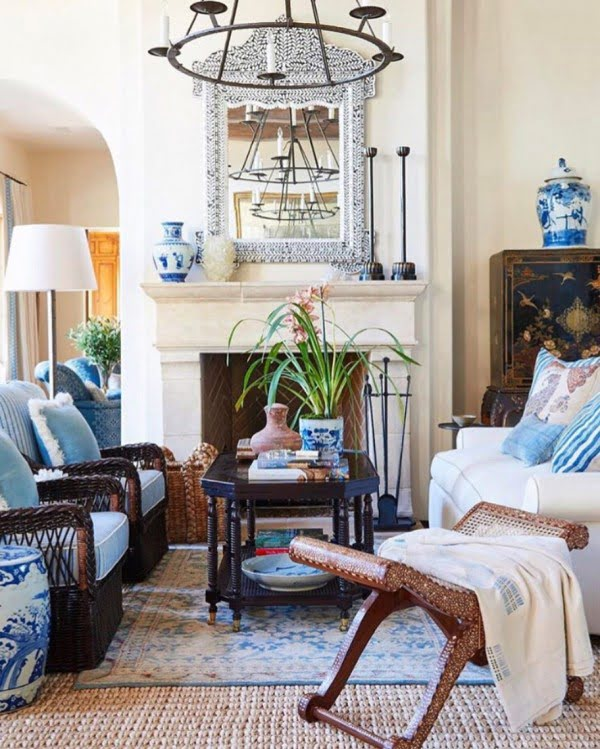California chic decor idea with layered rugs. Love it!