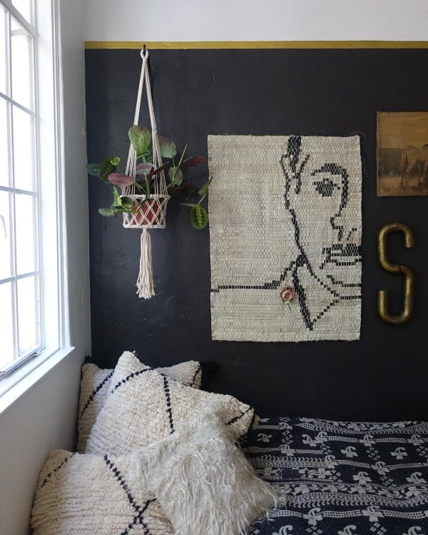 California chic decor idea with woven wall art. Love it!