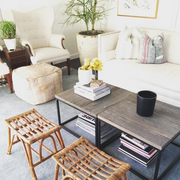 California chic decor idea with vintage stools. Love it!