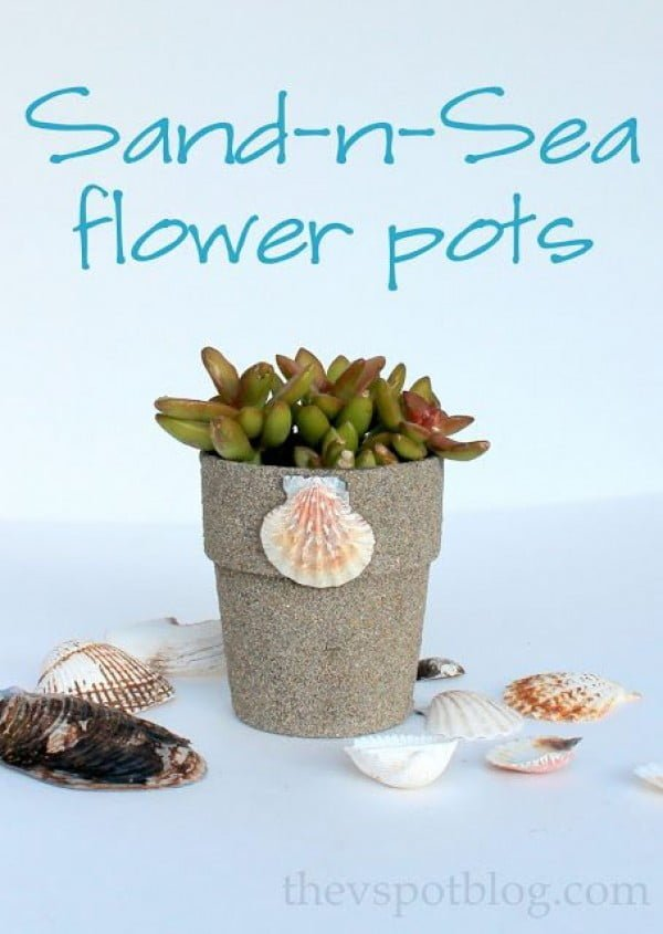 Check out this easy idea on how to make a #DIY flower pot with sand and sea shells #HomeDecorIdeas