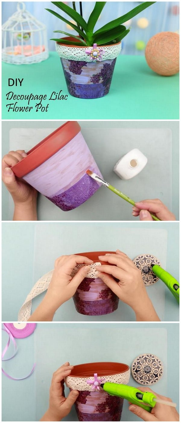 Check out this easy idea on how to make a #DIY decoupage lilac flower pot #HomeDecorIdeas