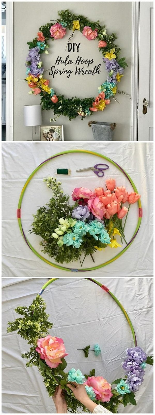 You have to see this tutorial on how to make #DIY spring hula hoop wreath #HomeDecorIdeas