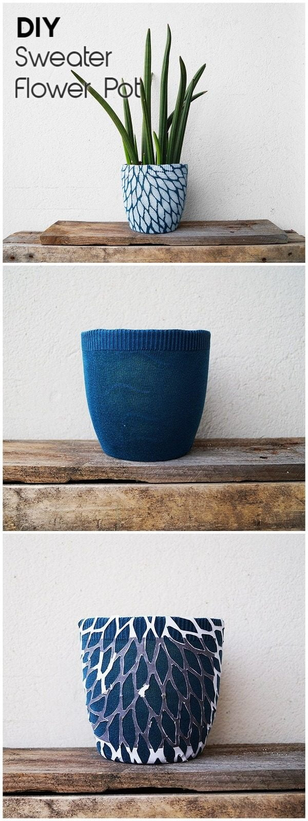 Check out this easy idea on how to make a #DIY flower pot with a sweater cover #HomeDecorIdeas
