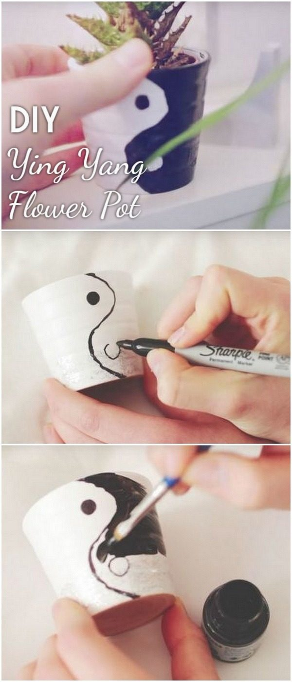 Check out this easy idea on how to make a #DIY ying yang flower pot #HomeDecorIdeas