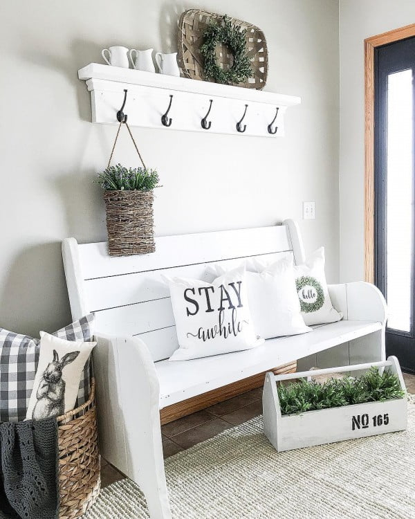 Check out this  entryway decor idea with a  bench. Love it!