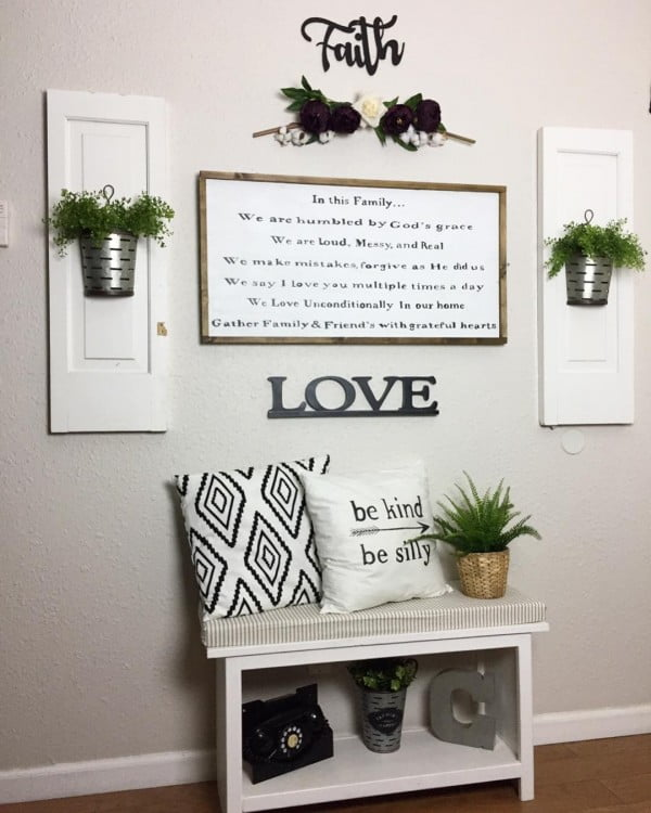 Check out this  entryway decor idea with inspiring signs. Love it!