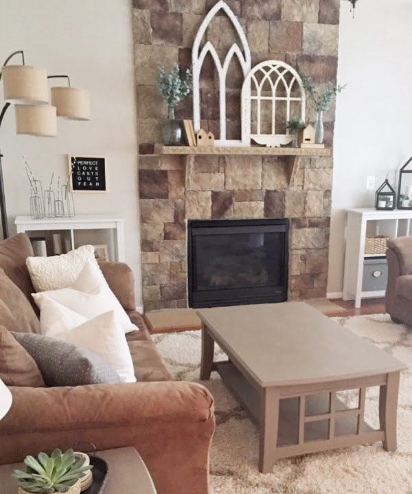 living room decor idea with rustic mantel decor. Love it!