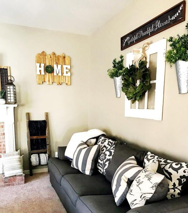 living room decor idea with farmhouse wall signs. Love it!