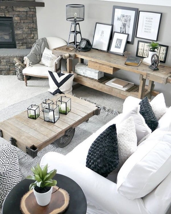 living room decor idea with repurposed industrial rustic furniture. Love it!