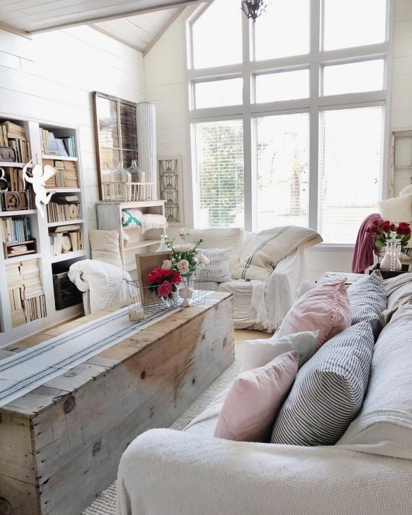 living room decor idea with a repurposed rustic coffee table. Love it!