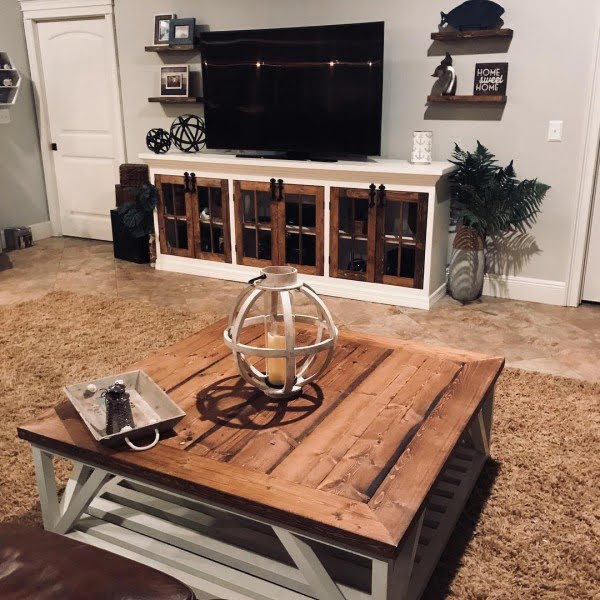 living room decor idea with rustic coffee table and tv console. Love it!