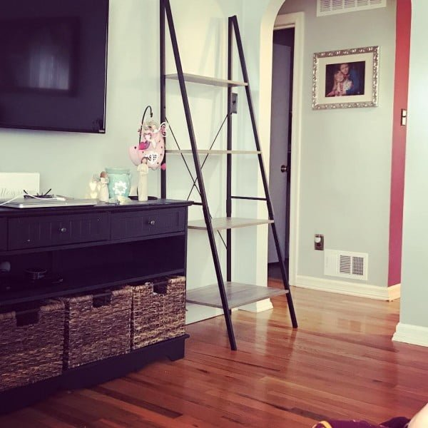 living room decor idea with a modern ladder shelf. Love it!
