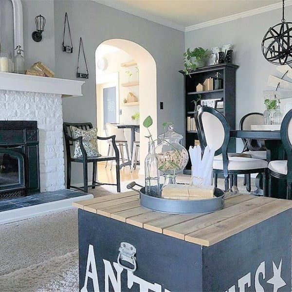 living room decor idea with a rustic box coffee table. Love it!