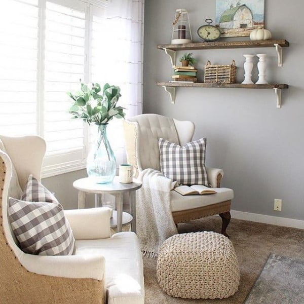 living room decor idea with rustic shelves with corbels. Love it!