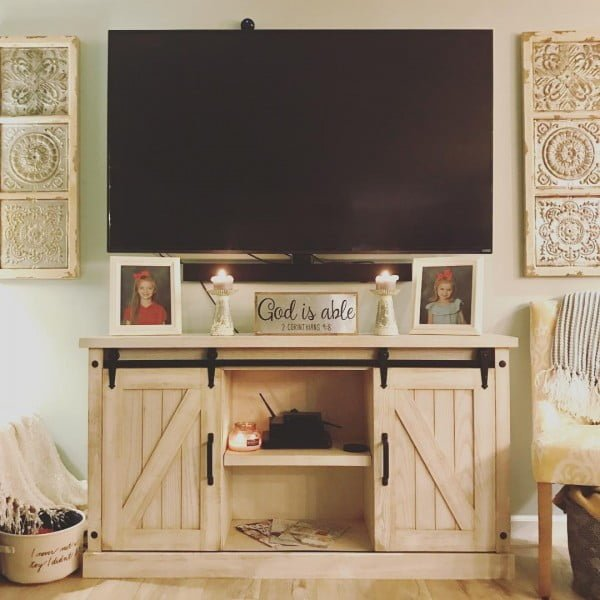 living room decor idea with a rustic tv console. Love it!