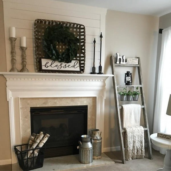 living room decor idea with a rustic blanket ladder. Love it!
