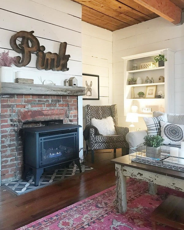 living room decor idea with rustic weathered furniture. Love it!
