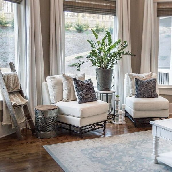 living room decor idea mixing and matching rustic with classic accents. Love it!