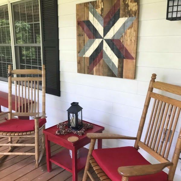Check out this  porch decor idea with wall art. Love it!