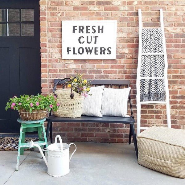 Check out this  porch decor idea with a  bench. Love it!