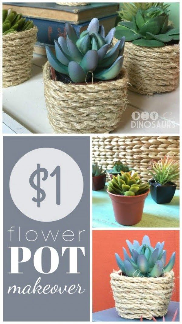 Check out this easy idea on how to make a #DIY flower pot with rope #HomeDecorIdeas