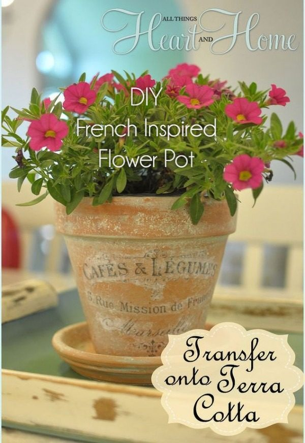 Check out this easy idea on how to make a #DIY French inspired flower pot #HomeDecorIdeas