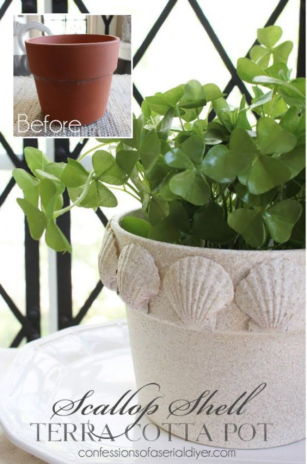 Check out this easy idea on how to make a #DIY flower pot with scallop shells #HomeDecorIdeas
