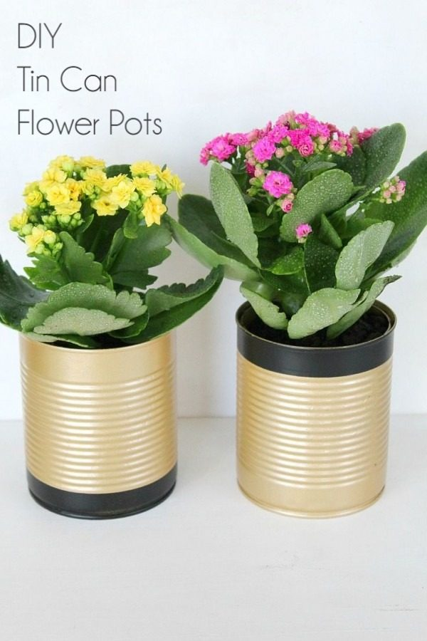 Check out this easy idea on how to make a #DIY tin can flower pot #HomeDecorIdeas