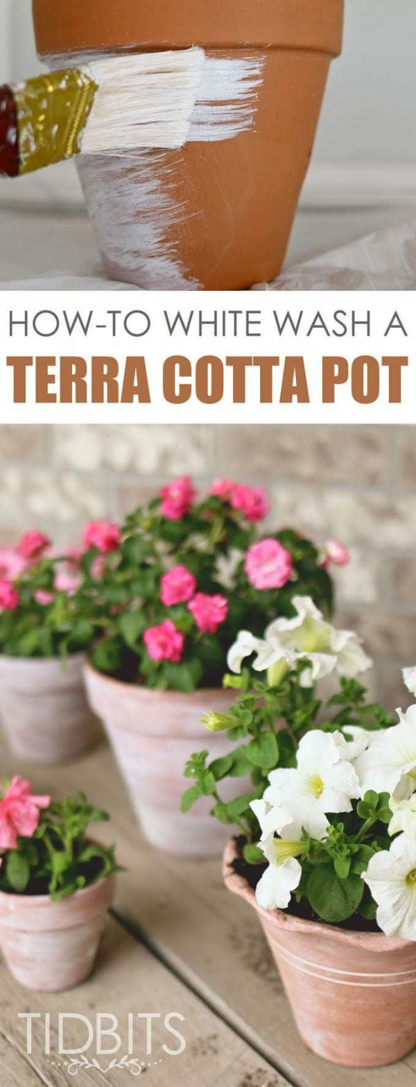 Check out this easy idea on how to make a #DIY white washed flower pot #HomeDecorIdeas