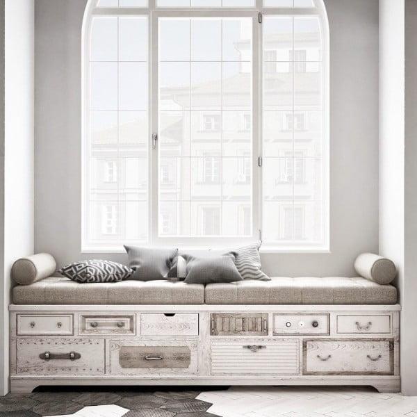 Check out this modern #farmhouse decor idea with a window bench. Love it! #HomeDecorIdeas