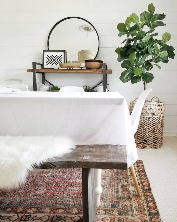 modern  dining area decor idea with rustic furniture and furs. Love it!