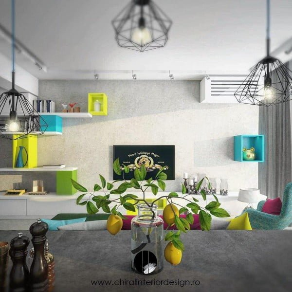Pops of Brights in Modern Living Room Design #HomeDecor