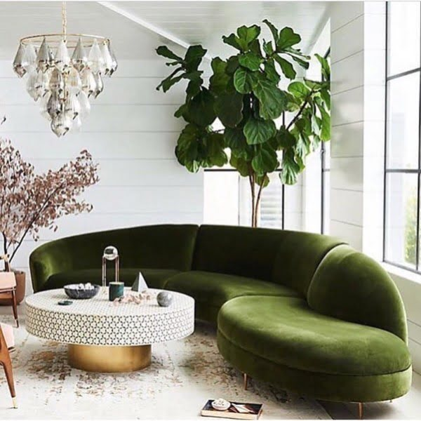 Modern Living Room Emerald Accents #homedecor