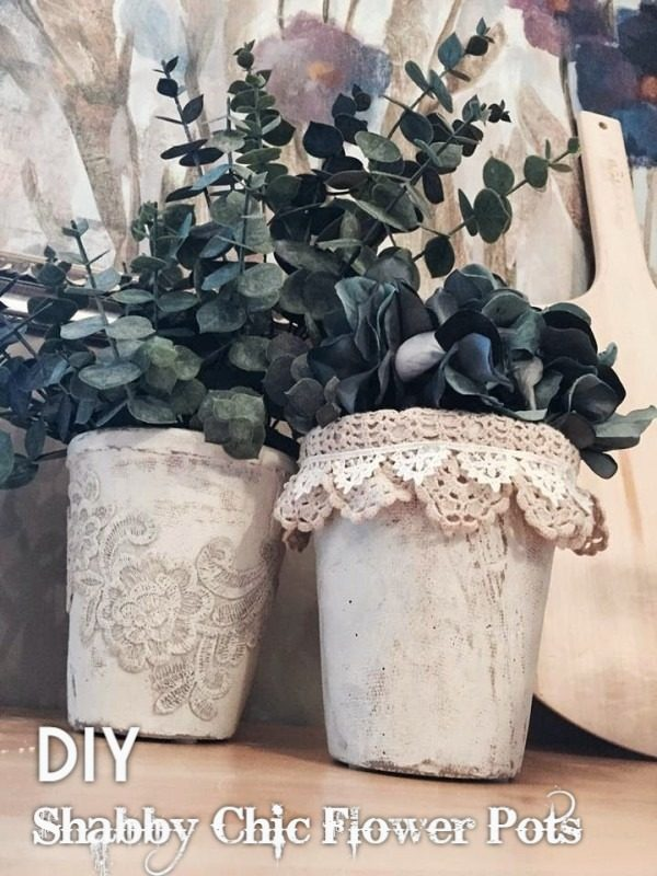 Check out this easy idea on how to make a #DIY shabby chic flower pot #HomeDecorIdeas
