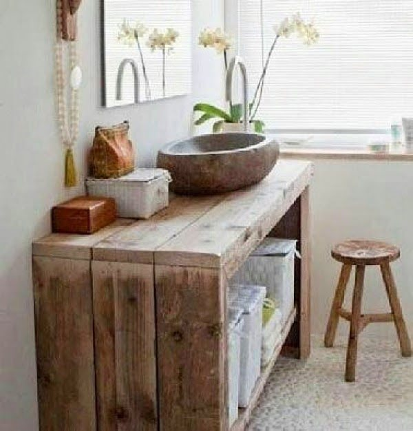 100 Cozy Rustic Farmhouse Bathroom Decor Ideas You Can Easily Copy - Check out this  bathroom decor idea with a wooden sink and reclaimed wood vanity. Love it!