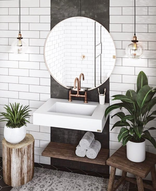 100 Cozy Rustic Farmhouse Bathroom Decor Ideas You Can Easily Copy - Check out this #rustic bathroom decor idea with a tree stump stool. Love it! #BathroomDesign #HomeDecorIdeas