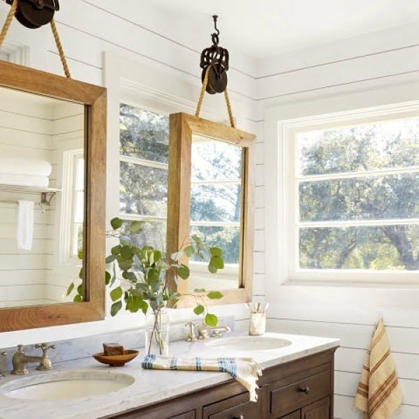 100 Cozy Rustic Farmhouse Bathroom Decor Ideas You Can Easily Copy - Check out this #rustic bathroom decor idea with a natural stone sink and rustic mirrors. Love it! #BathroomDesign #HomeDecorIdeas