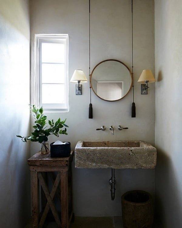 100 Cozy Rustic Farmhouse Bathroom Decor Ideas You Can Easily Copy - Check out this #rustic bathroom decor idea with a concrete sink and pulley mirror. Love it! #BathroomDesign #HomeDecorIdeas