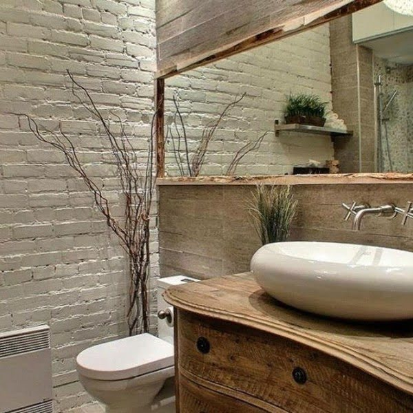 100 Cozy Rustic Farmhouse Bathroom Decor Ideas You Can Easily Copy - Check out this  bathroom decor idea with a rustic framed mirror. Love it!