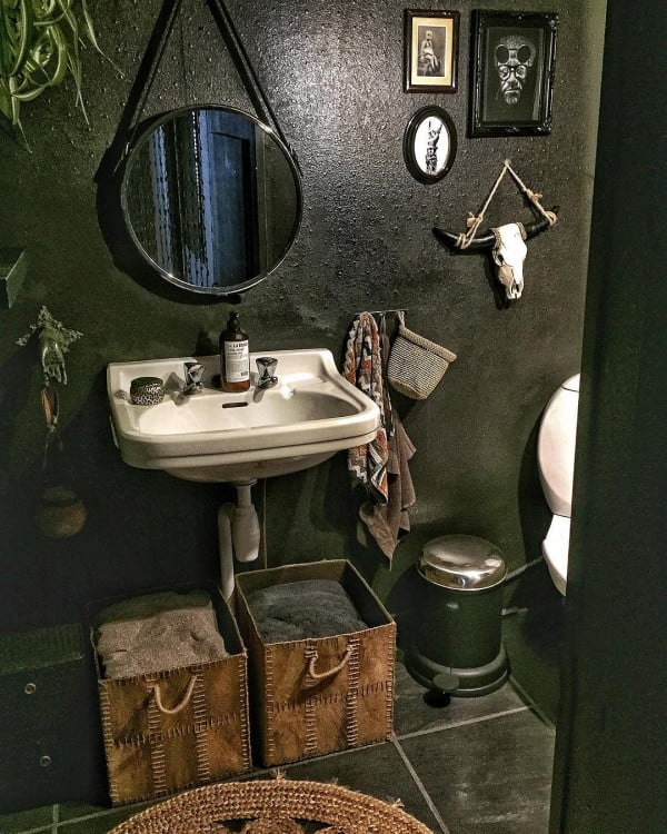100 Cozy Rustic Farmhouse Bathroom Decor Ideas You Can Easily Copy - Check out this  bathroom decor idea with dark tones and naval mirror. Love it!